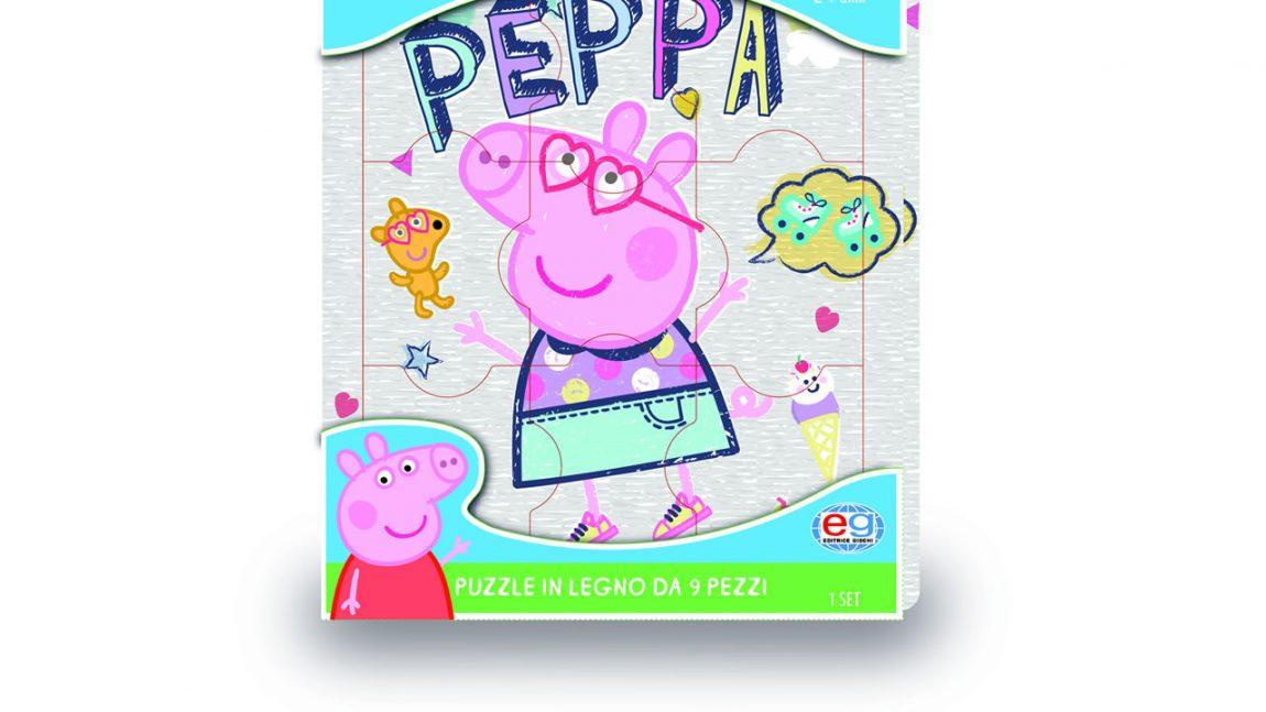 PEPPA PIG Puzze in legno 9 pezzi in espositore